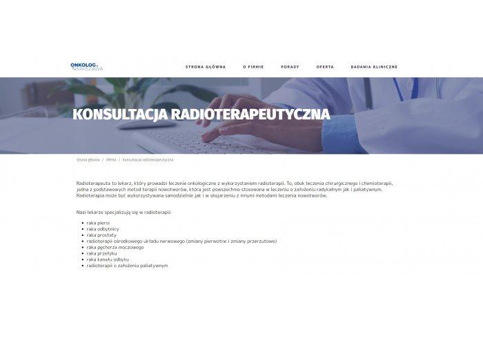 Konsultacja Radioterapeutyczna Centrum Terapii Nowotworów Warszawa