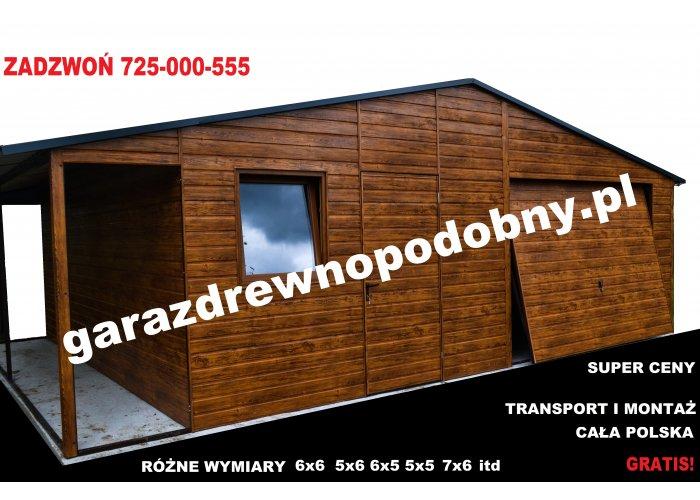 Garaż blaszany drewnopodobny 6×5 +1m wiaty