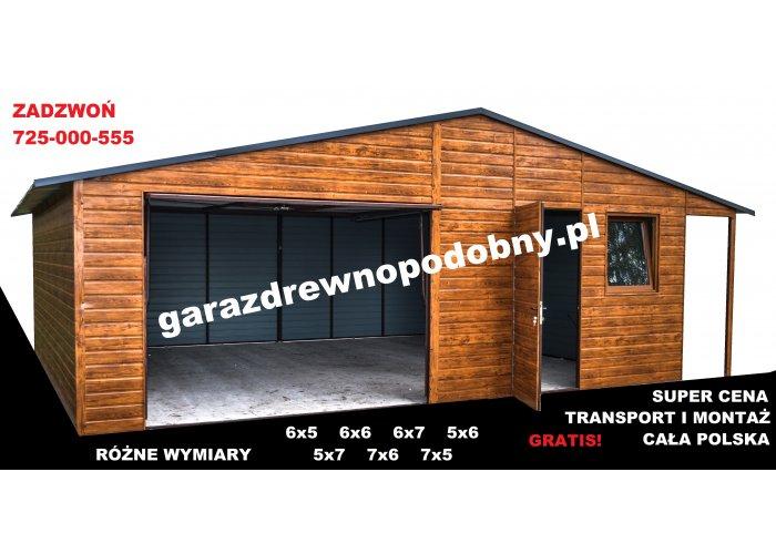 Garaż Blaszany Drewnopodobny 6x5+1m wiaty