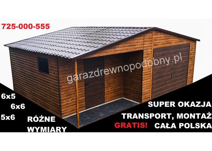 Garaż blaszany drewnopodobny 6×6