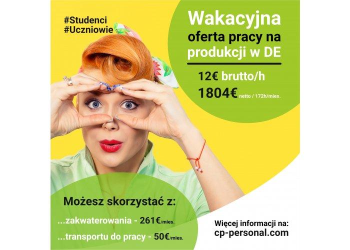PRACOWNIK PRODUKCJI (K/M) STUDENT / UCZEŃ NA OKRES WAKACJI - NIEMC
